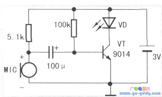 声敏传感器实例应用:单管声控闪光灯和高灵敏声控实验电路