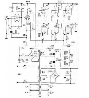 6kd6五极管otl功放电路图