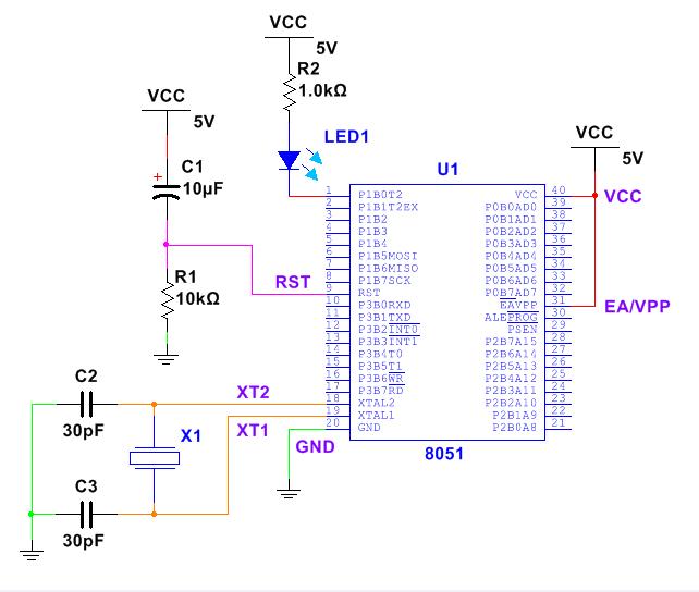 我们在自己的面包板上搭建的电路如下,我把led连接在p1.