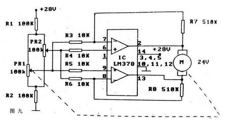 这里lm378可提供最大达1a的驱动电流,本电路在伺服系统中具有广泛的