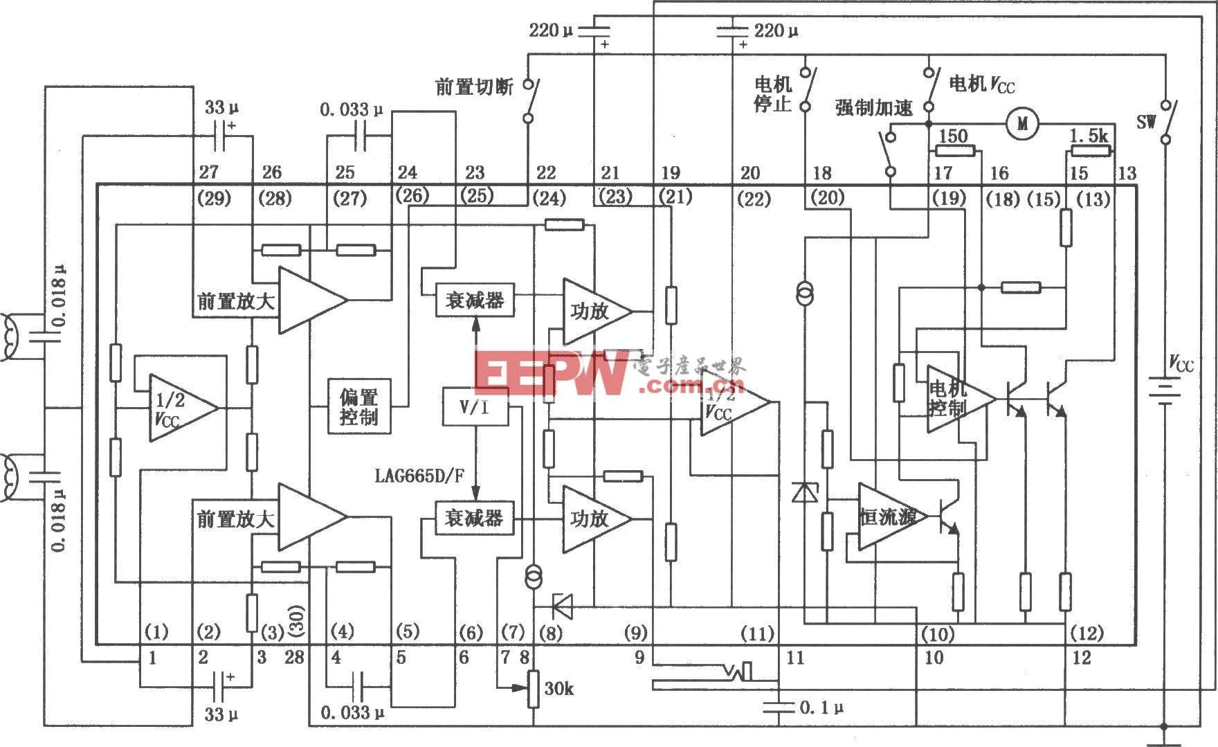 lag665d/665f单片立体声放音机电路