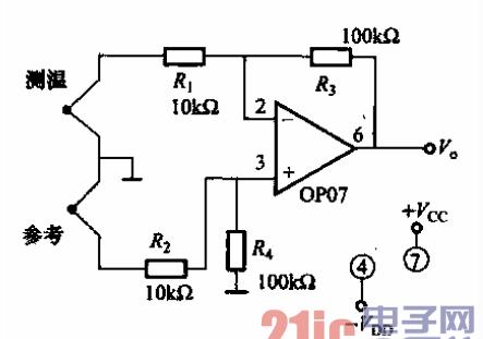 op07构成的高稳定热电偶测温放大电路