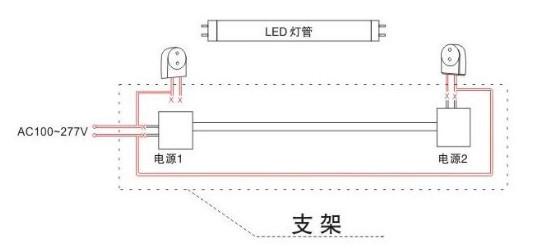 led日光灯接线图   2,led日光灯管接线方式:去掉镇流器和(或)起辉器