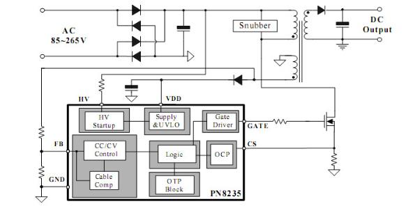 全电压输入范围±5%的cc/cv精度 原边反馈可省光耦和tl431 恒压,恒流