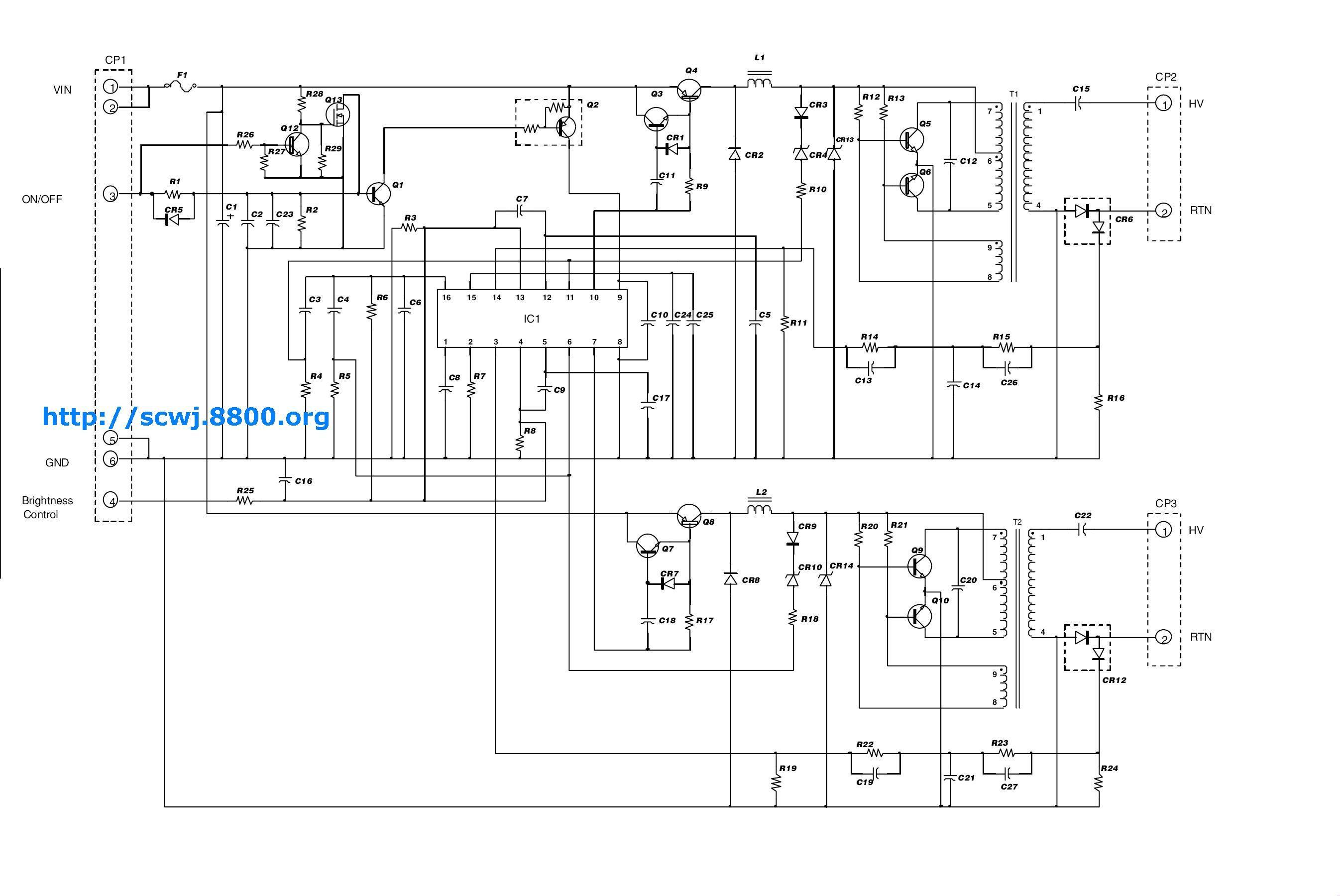 lcd液晶屏高压驱动供电电路图 (很多张)