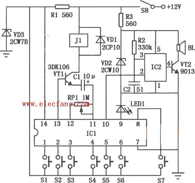 icl为专用密码锁集成电路5g058,它的①~⑥脚分别外接按键开关到电源