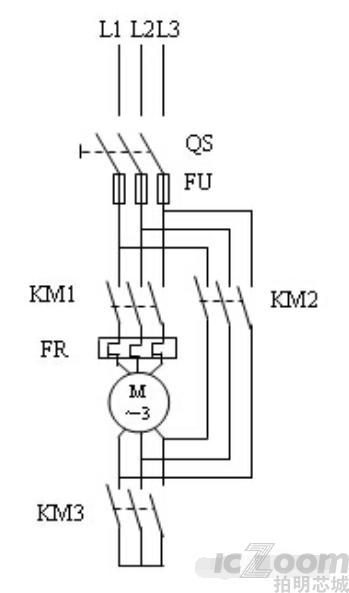 星三角降压启动plc梯形电路图