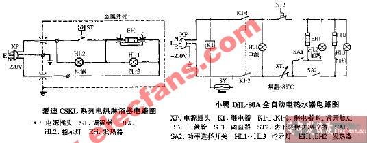 小鸭djl-80a全自动电热水器电路图