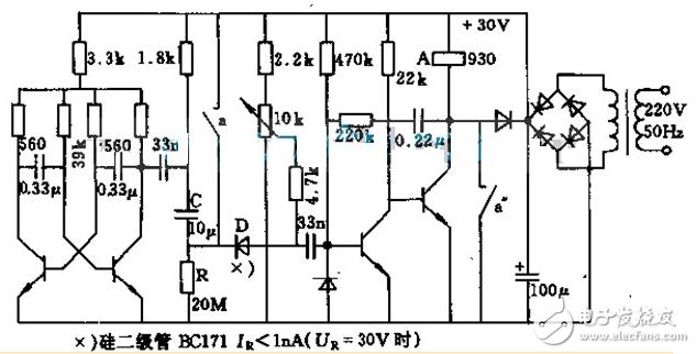 信号处理电  继电器开关电路图(一):延迟吸合继电器开关控制电路图